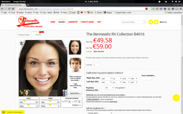 Product detail view of Magento 1.8.1 and Virtual Mirror.Product detail view of Magento 1.8.1 and Virtual Mirror.